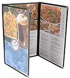 Set of 10, Triple Fold Menu Covers for 8.5''x14'' Pages, Black Vinyl Trim, Decorative Metal Corners