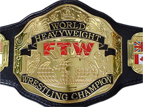Haio Sports ECW/FTW World Championship Heavyweight Wrestling Title Replica Championship Belt - Brass Metal 4mm Plates