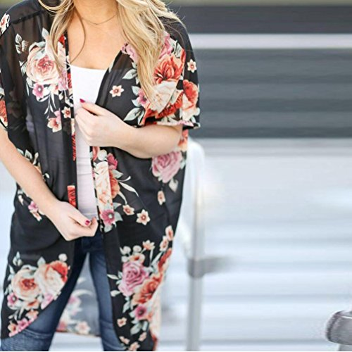 kimono flojo de Chaqueta Cubierta floral impresión 1 Chaleco superior Chaqueta mujeres encima Manadlian las mujeres de de Negro 7Aw1C
