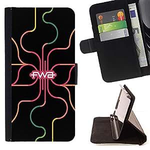 For Samsung Galaxy S4 Mini i9190 (NOT S4) Case , Neón Colores Regístrate Mensaje Gris Gris- la tarjeta de Crédito Slots PU Funda de cuero Monedero caso cubierta de piel