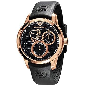 Emporio Armani® Montre Meccanico AR4619 hommes de visage noir avec contour  or rose c88ef128cbd