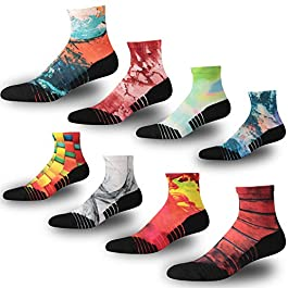 NIcool Men's Running Anti-Blister Moisture Wicking Sports Compression Ankle Socks