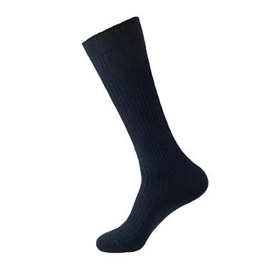 YUPPIE TONE Calcetines altos de algodón azul marino negocios ...