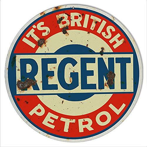 ABLERTRADE Letrero de Metal Redondo de Gasolina británica de ...