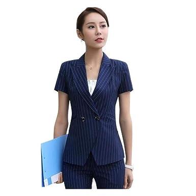 4a0afa369c15 Xuba Professional Set Female Stripe Pants Suits Summer Formal Fashion Short  Sleeve Slim Blazer with Pant Office Ladies Work wear  Amazon.in  Clothing    ...