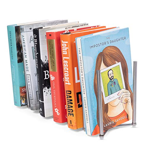 Adjustable Book Holder Bookend Sections Extends Stainless Steel Unique Design ()