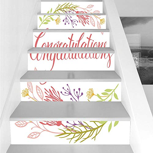 Stair Stickers Wall Stickers,6 PCS Self-adhesive,Graduation Decor,Soft Spring Garden Flowers Herbs Twigs and Calligraphy Celebratory Message Decorative,Multicolor,Stair Riser Decal for Living Room, Ha -