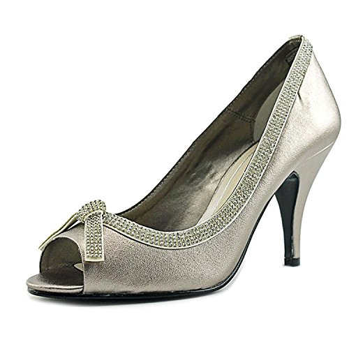 Caparros Womens Glow Peep Toe Classic Pumps, Mushroom Metallic, Size 5.5
