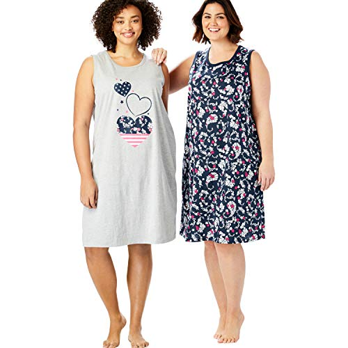 Dreams & Co. Women's Plus Size 2-Pack Sleeveless Sleepshirt - Navy Paisley Hearts, 14/16
