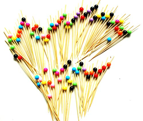 "ReaLegend 4.7"" Cocktail Sticks Party Frilled Toothpicks, Sandwich, Appetizer, Cocktail Picks Party Supplies Plates Picks 100 Count - Multicolor Pellet"