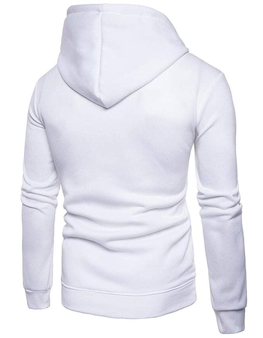 Rrive Mens Stylish Drawstring Contrast Color Hoodie Pullover Sweatshirt