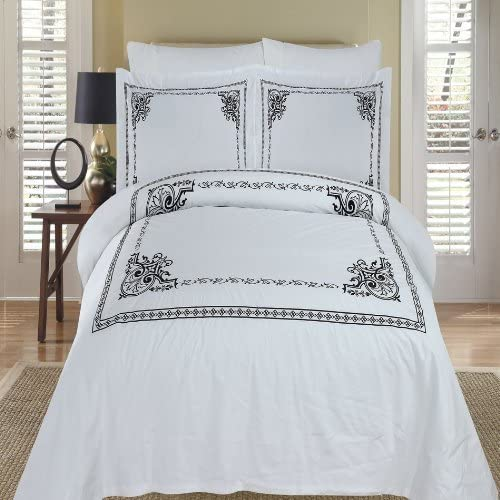 Athena White Embroidered 3-piece Full Queen Duvet Cover Set 100 /% Egyptian Cotton 300 Thread Count by Royal Hotel Bedding