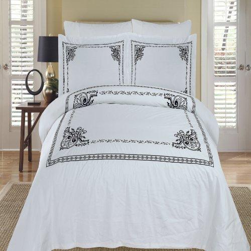 Athena Silk Pillow - Athena White & Black Embroidered Queen Size Duvet cover Set, 100% Egyptian Cotton