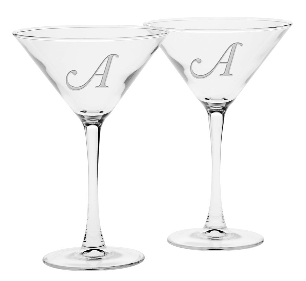 Culver Deep Etched Martini Glass, 7-1/4-Ounce, Monogrammed Letter-A, Set of 2 017A-332