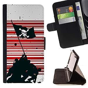 KingStore / Leather Etui en cuir / Samsung Galaxy Core Prime / Pirata Guerra Bandera
