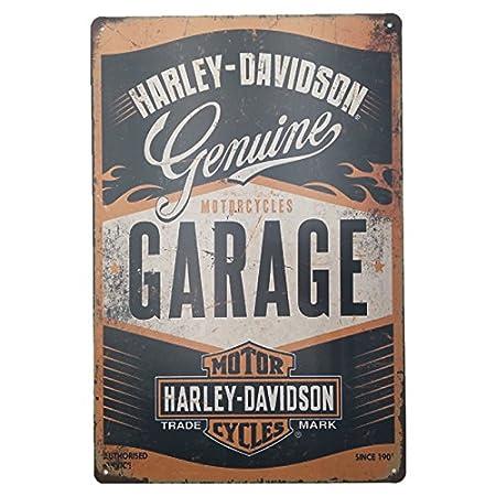 MARQUISE & LOREAN Placas Decorativas Pared Motos Harley Davidson Decoración Carteles Vintage Metálicos MIRA (Garaje, 20 x 30 cm)