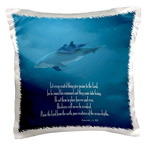 3dRose pc_36108_1 Mother and Baby Dolphin swimming in the aqua colored ocean with the Bible verse Psalm 148 v 5-7-Pillow Case, 16 by 16″
