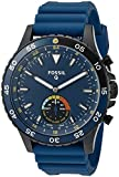 Fossil Hybrid Smartwatch Crewmaster Stainless Steel and Silicone, Black Blue FTW1125
