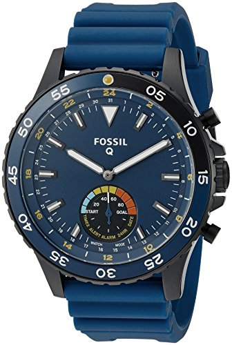 Fossil Hybrid Smartwatch Crewmaster Stainless Steel and Silicone, Black Blue FTW1125 by Fossil