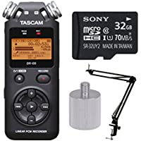 Tascam DR-05 Portable Digital Recorder w Knox Boom Arm Stand & 32 Gig Micro SD Card