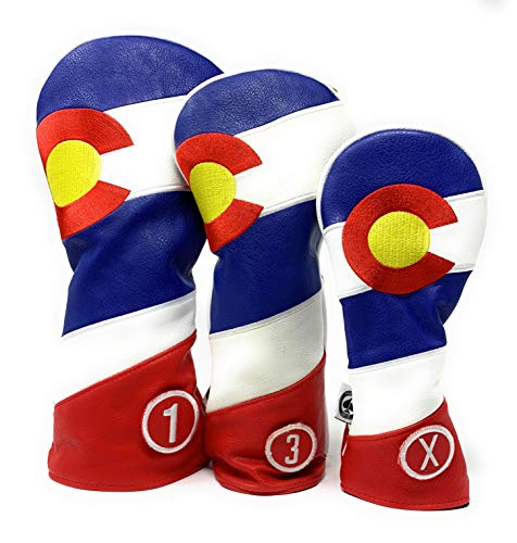 Pins & Aces Golf Co. Colorado Tribute Premium Headcover - Quality Leather, Hand-Made Head Cover - Style and Customize Your Golf Bag - Tour Inspired, Colorado Flag Design (Complete Set)