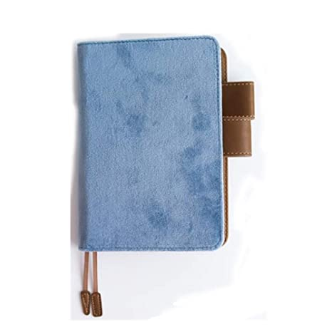 PU Leather+Cloth Cover Refillable Notebook with Multi- Postcards Pocket,Pen Holder, for Daily Planner Dairy Agenda Schedule Bullet Journal Book A5 ...