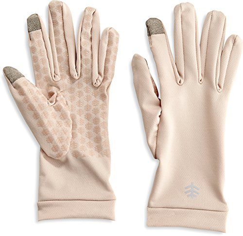 Coolibar UPF 50+ Men's Women's Gannett UV Gloves - Sun Protective (Large- Beige)