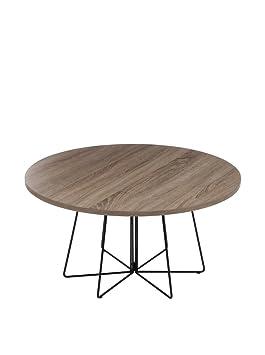 super populaire 8b6c0 bd080 J-line Table Basse Design Ronde en Bois et Métal - Diam. 80cm
