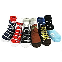 StylesILove Shoes Pattern Non Slip Socks for Baby Boy 6 Pairs (1-3 Years)
