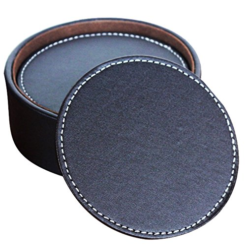 6 Leather Coasters - 5