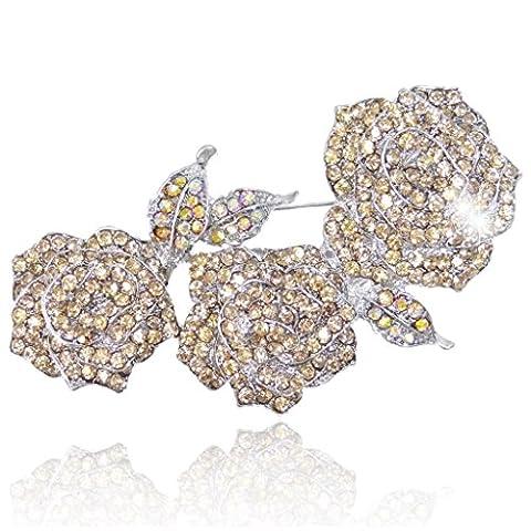 EVER FAITH Women's Austrian Crystal Enamel Blooming Rose Flower Leaf Brooch Topaz-color Silver-Tone - Enamel Floral Brooch Pin
