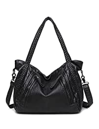 Women Soft Leather Handbag Casual Travel Shoulder Bag Large Capacity Tote Bag Hobo Slouchy Cross Body Bag Satchel
