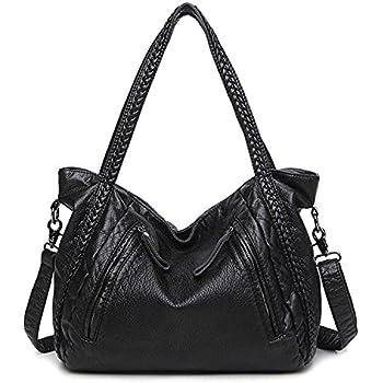 Women Soft Leather Handbag Casual Travel Shoulder Bag Large Capacity Tote Bag  Hobo Slouchy Cross Body Bag Satchel d45be8e3c1af8