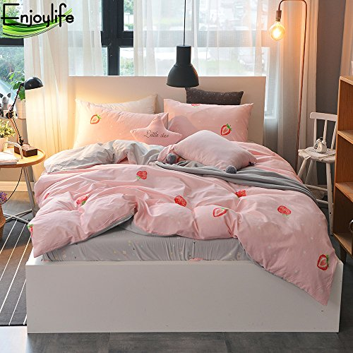 Enjoylife Cartoon Animal Duvet Cover Pudding Strawberry Cute 100% COTTON Reversible Bedding Set 3 Pieces Quilt Comforter Cover Twin Size For Girls Boys