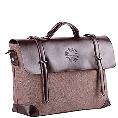768e586f0d lovely Yaoko Messenger Satchel Bag for Men and Women Vintage Canvas Real  Leather 14-inch