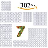 Cabinet Door Bumpers, Self Adhesive Transparent Stick Rubber Bumper Pads Noise Dampening Buffer Bumpers for Drawers, Cutting Boards Adhesive Bumper Pads 302 Pack (Clear)