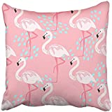 Throw Pillow Cover Square 18x18 Inches Colorful Hawai Tropical Trendy with Pink Flamingos Design and Paradise Beach Pattern Hawaii Bird Polyester Decor Hidden Zipper Print On Pillowcases