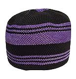 NDA Eid Koofi Muslim Men's Stretchable Kufi Stuff Prayer Cap Muslim Hat (Black Purple)