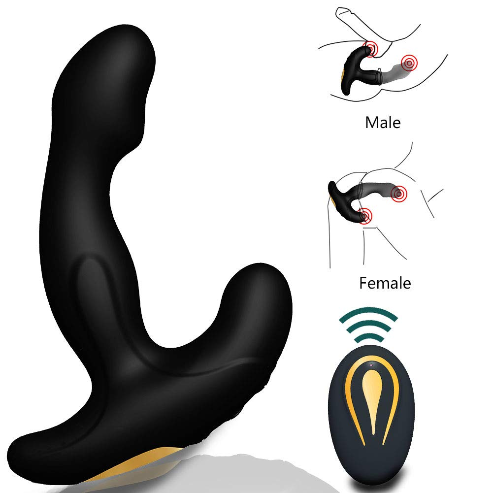 Male Prostate Anal Vibrators Unisex Massager with 12 Stimulation Patterns and 2 Powerful Motors, SXOVO Wireless Remote Vibrating G-spot Waterproof Smooth Silicone Sex Toy for Men, Women and Couples