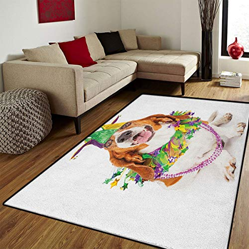 Mardi Gras,Bath Mats for Bathroom,Happy Smiling Basset Hound Dog Wearing a Jester Hat Neck Garland Bead Necklace,Floor Mat Pattern,Multicolor,6.6x9 ft