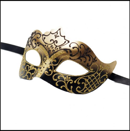 Burlesque Masks (Luxury Mask Assorted Venetian Party Multicolored Mask, Black/Gold, One Size)
