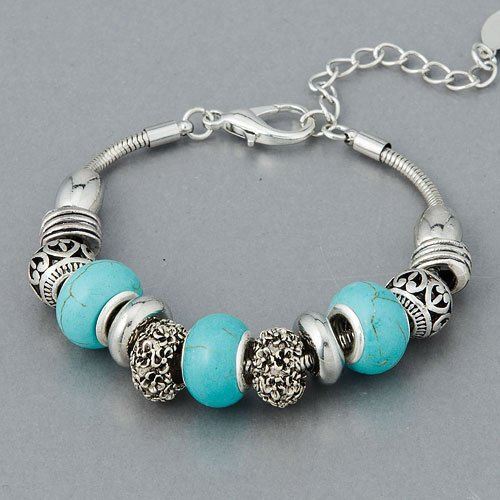 Silver Filigree Turquoise Designer Inspired Movable Charm ()