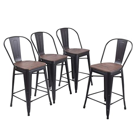 Sensational Andeworld Set Of 4 Tolix Style Counter Height Bar Stools Chairs Industrial Metal Bar Stools High Back Matte Black Wooden 24 Inch Pabps2019 Chair Design Images Pabps2019Com