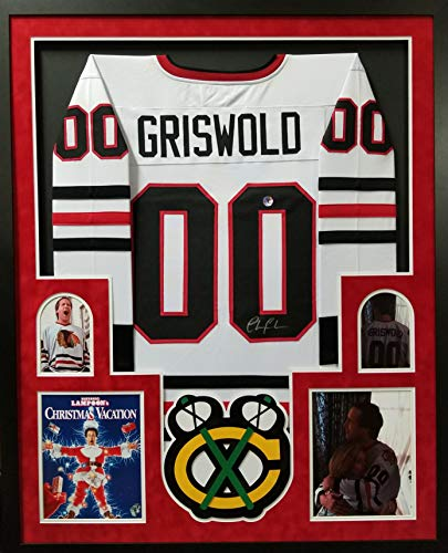 Chevy Chase Clark Griswold Chicago Blackhawks Autograph Signed Christmas Vacation The Movie Custom Framed Jersey Suede Matted Beckett & Chevy Chase Hologram - Framed Chevy