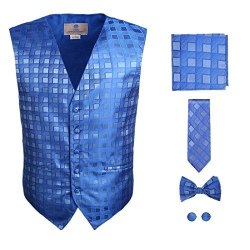 - Mens Designer Blue Checkered Tuxedo Vest Set Match Necktie Cufflinks Bowtie Hanky Set for Suit VS1034-M Medium Royal Blue