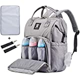 Extra Large Diaper Bag Backpacks, Wide Opening Baby Diaper Bags for Mom Dad, FRANK MULLY Travel Nappy Bag with Changing Pad Stroller Straps Insulated Pockets Gray, Perfect Baby Shower Gift