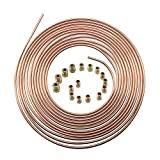 "25 Ft. 3/16 OD Copper Nickel Brake Line Tubing Coil and Fitting Kit 25 Ft of 3/16"" x 25' Brake Tubing"