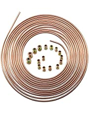 "25 Ft. 3/16 OD Copper Nickel Brake Line Tubing Coil and Fitting Kit 25 Ft of 3/16"" x 25' Brake Tubing"