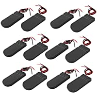 12PCS CR2032 Battery Holder Plastic 2x3V Button Coin Cell Battery Holder Case Box with Wire Lead ON-OFF Switch (Black)