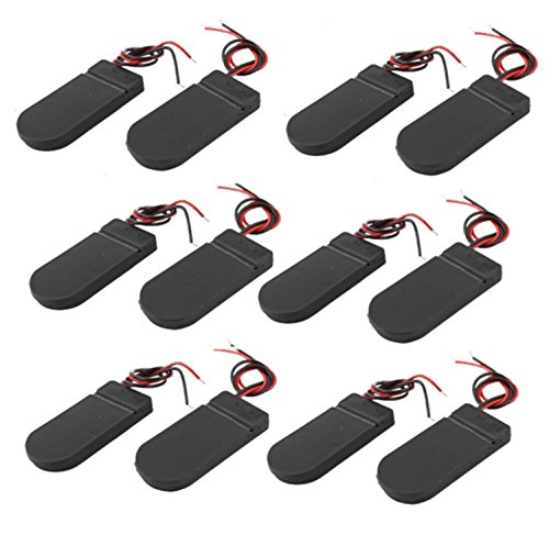 Geelyda 12PCS CR2032 Battery Holder Plastic 2x3V Button Coin Cell Battery Holder Case Box with Wire Lead ON-Off Switch (Black)